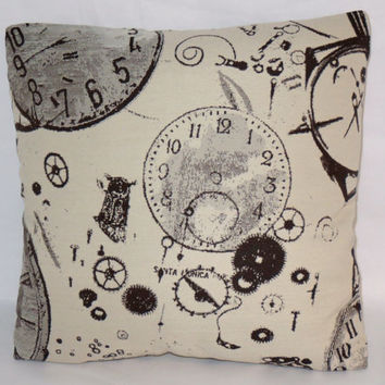 """Watches and Clocks Brocade Throw Pillow Cover and Insert 17"""" Square Cushion  Watchmaker Time Gears Steampunk Clock Parts Black and White"""
