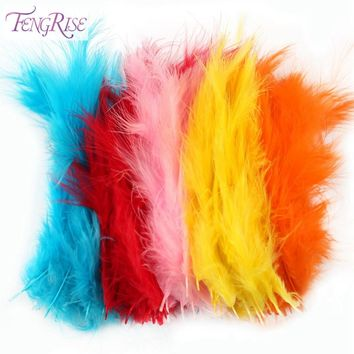 FENGRISE 100PCS Rooster Tail Feathers DIY Wedding Party Cosplay Dyed Pheasant Feathers Carnival Costume Mask Plume Decoration