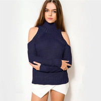 Turtle Neck Cold Shoulder Knitter Sweatshirt