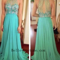 O Neck Prom Dresses, 2016 Prom Dress, O Neck Evening Gown, Formal Gown