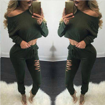 Off Shoulder Crop Top and Ripped Pants Set