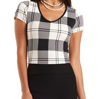 Textured Plaid Crop Top by Charlotte Russe