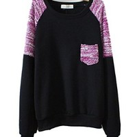 Mooncolour Women Girls Splicing Color Contrast Thick Warm Pullover Sweatshirt