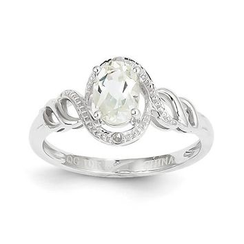10k White Gold White Topaz Diamond Ring