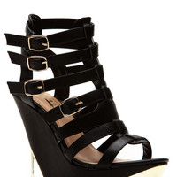 Glaze Black Gold Accent Strappy Buckle Wedges