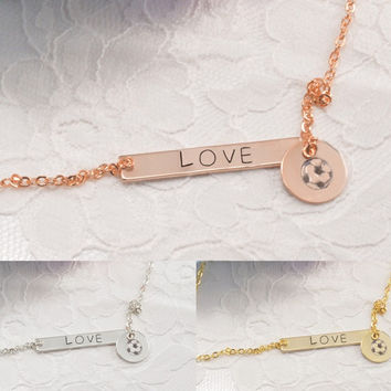 Soccer Ball Personalized Bar Disc Coin Necklace Bracelet Anklet Delicate Hand Stamped Jewelry