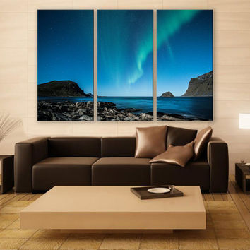 Norway Aurora Borealis Night Print 3 Panels Print Wall Decor Fine Art Landscape Photography Repro Print for Home and Office Wall Decoration