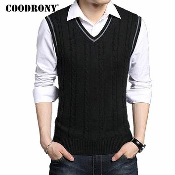 Men Winter New Classic V neck Sleeveless Sweater Men Cotton Knitwear Pull Men Clothing