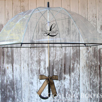 Custom Monogrammed Black Bubble Umbrella