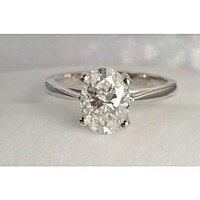A Perfect 2.4CT Oval Cut Solitaire Russian Lab Diamond Engagement Ring