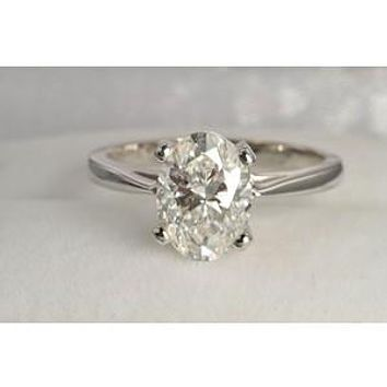 A Perfect 14K White Gold 2.5CT Oval Cut Solitaire Russian Lab Diamond Engagement Ring