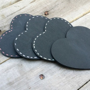 Chalkboard Wedding Heart Tags, Wedding Favor Tags, Seating Tags, Rustic Wedding Table Numbers, Set of 10