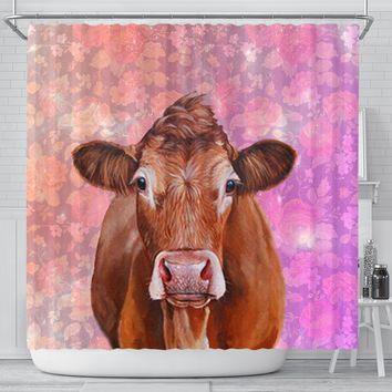 Limousin Cattle (Cow) Print Shower Curtains-Free Shipping