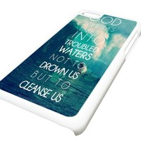 Apple iPhone 5C Troubled Waters Life Quote Waves DESIGN Case Cover Skin WHITE HARD PLASTIC Teen Gift Vintage Hipster Fashion Design Art Print Cell Phone Accessories