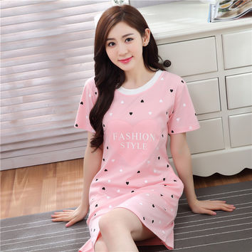 2017 New Casual Cotton Nightgown Female Cartoon Lovely Loose Home Sleepwear Pyjamas Summer Short Sleeve Sexy Lingerie Nightdress