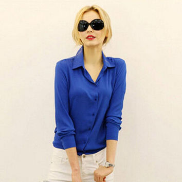 Women Chiffon Shirt Spring Summer Long-sleeve Chiffon Shirt Blouse Large Size