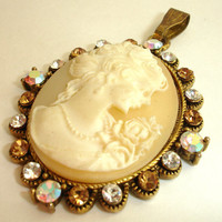 Vintage Cameo Pendant with Champagne and Aurora Borealis Crystal Rhinestones, Victorian Style Gold Cream Silhouette