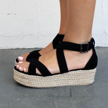 The Horizon Black Criss Cross Strappy Espadrilles