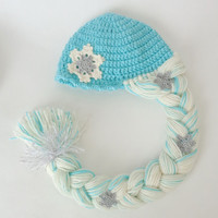 Elsa Frozen Crochet Hat  With Snowflake Flower - Disney Princess Queen Hat Crochet Wig - Choose your color and size