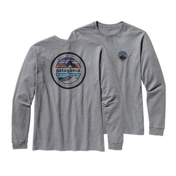 Patagonia Men's Long-Sleeved Rivet Logo Cotton T-Shirt | Pebble Grey