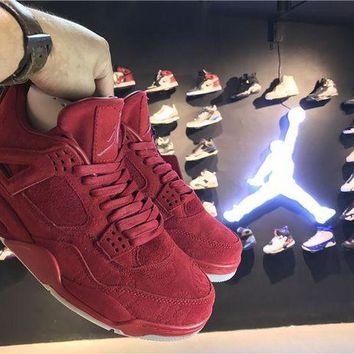 ONETOW Jacklish Kaws X Air Jordan 4 Red Suede For Sale