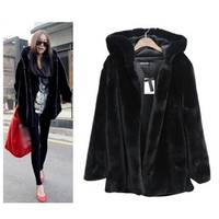 Winter Womens Fur Hooded Black Coat Jacket Plus Size Parka Trench Cotton Padded = 1837926276