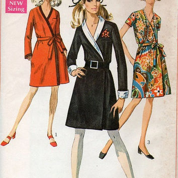 60s Simplicity Sewing Pattern Retro Fashion Classic Wrap Dress Front Tie Casual Day Dress Uncut FF Bust 34