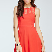 Caged Lace Fit & Flare Dress