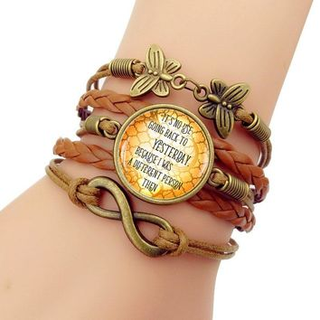 Glass Cabochon Jewelry Alice in Wonderland No Use Going Back to Yesterday Vintage leather charm bracelets for women gift