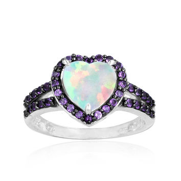 Glitzy Rocks Sterling Silver Opal and Amethyst Heart Ring | Overstock.com Shopping - The Best Deals on Gemstone Rings