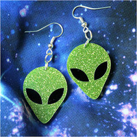 Alien earrings - laser cut sparkly acrylic