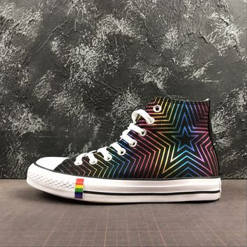 Converse All Star Chuck Taylor 70s Hi-Top Black Rainbow Multi Color Canvas Sneakers - Best Deal Online
