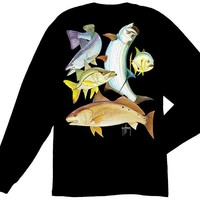 Guy Harvey Inshore Collage Long Sleeve Back-Print T-Shirt