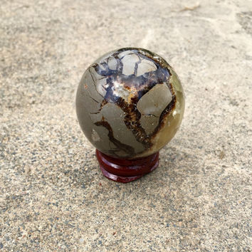 Septarian Crystal Sphere / Ball with Stand. Natural Healing Crystal Ball. FREE Crystal Healing Meditation Download.