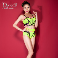 Jazz dance costume performance wear neon Pink Green Vest & Lace See-through sexy Shorts Clothing sets
