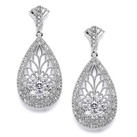 Art Deco Etched Cubic Zirconia Wedding Earrings
