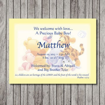 Custom Winnie the Pooh Birth Announcement - Girl or Boy Birth Announcement Cards - Yellow, Blue or Pink - Custom Design - Printable File