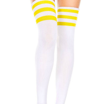 White and Yellow 3 Stripe Thigh High Socks