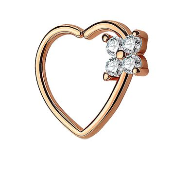 BodyJ4You 16G Daith Piercing Clear CZ Square Heart Rose Gold Helix Earring Cartilage Hoop Piercing