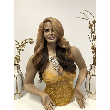 Blonde Brown Ombre Front Lace Wig   Long Volume Curls Soft Layered Hair   Cami
