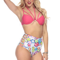 Hot Pink Floral High Waist Two Piece Swimsuit