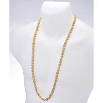 """Jewelry Kay style Men's Hip Hop 1 Row Stoned Flower Shape Iced Out 10 mm 36"""" CZ Chain Necklace"""