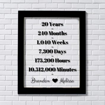 20 Year Anniversary Floating Picture Photo Frame - Custom Names - Months Weeks Days Hours Minutes