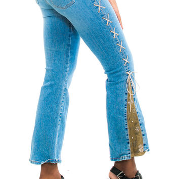 Vintage 90's Does 70's Flower Child Jeans - XS/S/M