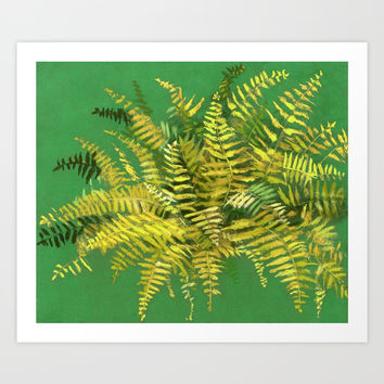 Golden Fern, floral art, green and yellow Art Print by Clipso-Callipso
