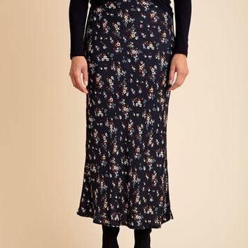 Olivaceous Floral Print Midi Skirt