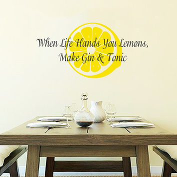 Kitchen Wall Decal Quote When Life Hands You Lemons Vinyl Stickers Art Mural Family Home Decor Cafe Interior Design Living Room Decor M1009