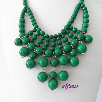 Classic handmade bubble necklace Bubble Necklace,Cluster Necklace,bib necklace Statement Necklace / Olive green