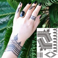 1 PC Flash Black Henna Indian Flower Tattoo BM-LS1019 Temporary Women Body Chest Art Earring Jewelry Tattoo Sticker Holiday Gift