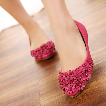 Women Flats Flower Loafers Ballet Shoes 2082